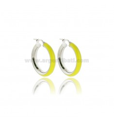 HOOP EARRINGS MM 15 BARREL MM 5 IN SILVER RHODIUM-PLATED TIT 925 AND YELLOW FLUO ENAMEL