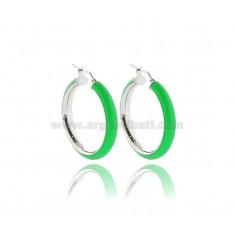 HOOP EARRINGS MM 25 BARREL MM 5 IN SILVER RHODIUM TIT 925 AND GREEN ENAMEL