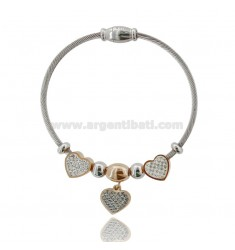 RIGID BRACELET WITH HEARTS AND RHINESTONES IN TWO-TONE STEEL 18 CM