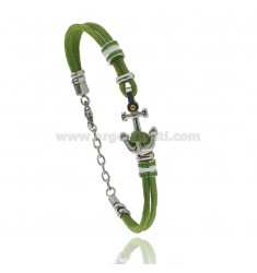 GREEN ROPE BRACELET WITH ANCHOR AND NAUTICAL FLAGS IN STEEL ENAMELED WITH BRASS DOT