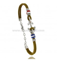 MILITARY GREEN ROPE BRACELET WITH ANCHOR AND NAUTICAL FLAGS IN STEEL ENAMELED WITH BRASS DOT
