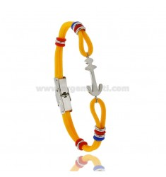 YELLOW ROPE BRACELET WITH ANCHOR AND COLORED WASHERS IN STEEL AND RUBBER
