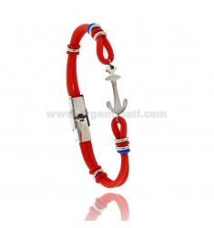 RED ROPE BRACELET WITH ANCHOR AND COLORED WASHERS IN STEEL AND RUBBER