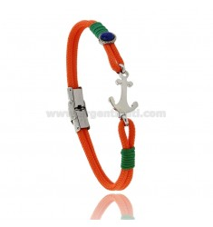 ORANGE ROPE BRACELET WITH STAINLESS STEEL ANCHOR AND LAPIS