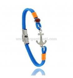 BRACELET IN LIGHT BLUE ROPE WITH ANCHOR AND ABRA IN STEEL
