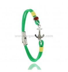 GREEN ROPE BRACELET WITH ANCHOR AND ABRA IN STEEL