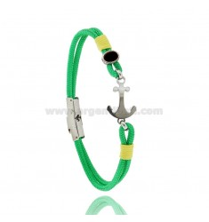 GREEN ROPE BRACELET WITH ANCHOR AND ONYX IN STEEL