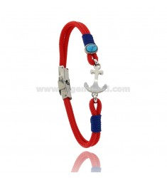 RED ROPE BRACELET WITH ANCHOR AND TURQUOISE ARIZONA IN STEEL