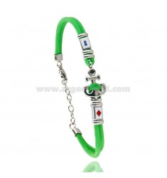 GREEN ROPE BRACELET WITH ANCHOR AND NAUTICAL FLAGS IN STEEL ENAMELED WITH BLACK ZIRCON