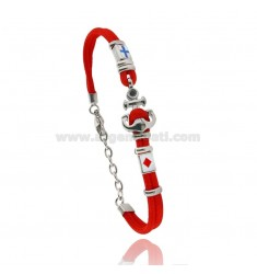 RED ROPE BRACELET WITH ANCHOR AND NAUTICAL FLAGS IN STEEL ENAMELED WITH BLACK ZIRCON