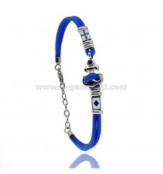 BLUE ROPE BRACELET WITH ANCHOR AND NAUTICAL FLAGS IN STEEL ENAMELED WITH BLACK ZIRCON