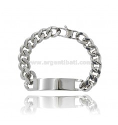 CURB STEEL BRACELET WITH 11 MM PLATE
