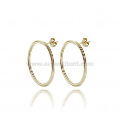 EARRINGS CIRCLE CONTOUR DIAM 30 TO 3 WIRES BRAIDED IN SILVER GOLDEN TIT 925