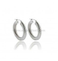 HOOP EARRINGS DIAM 20 ROUND BARREL 5 MM SILVER DIAMOND AND PLATINATED TIT 925