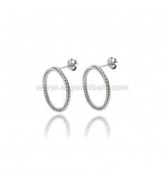 CIRCLE EARRINGS DIAM 20 WITH 3 WIRES BRAIDED IN SILVER DIAMOND AND PLATINATED TIT 925