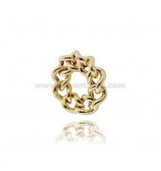 CURB RING 9 MM SILVER GOLDEN TIT 925 MIS 10