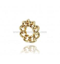 BANDRING 9 MM SILBER GOLDENE TIT 925 MIS 14