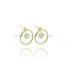EARRINGS CIRCLE CIRCLE 20 MM WITH WHITE ZIRCON PENDANT IN SILVER GOLDEN TIT 925