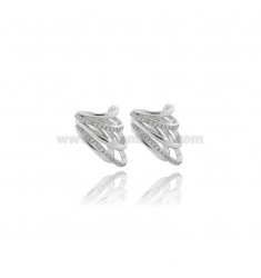 EAR CUFF 5 WIRE EARRINGS WITH WHITE ZIRCONS IN SILVER RHODIUM TIT 925