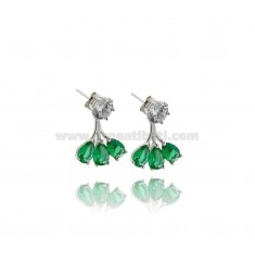EAR CUFF EARRINGS WITH WHITE ZIRCON AND GREEN DROPS IN RHODIUM-PLATED SILVER TIT 925