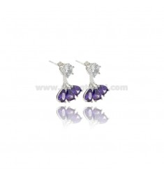 EAR CUFF EARRINGS WITH WHITE ZIRCON AND PURPLE DROPS IN RHODIUM-PLATED SILVER TIT 925