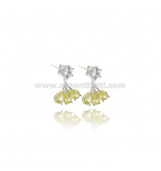 EAR CUFF EARRINGS WITH WHITE ZIRCON AND YELLOW DROPS IN RHODIUM-PLATED SILVER TIT 925