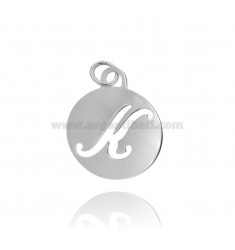 ROUND PENDANT MM 32 WITH PERFORATED LETTER K IN AG TIT 925 ‰ RHODIUM-PLATED