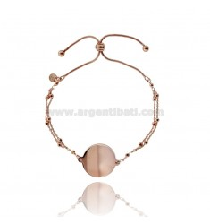 CABLE BRACELET WITH ALTERNATE BALLS WITH CENTRAL ROUND 20 MM IN ROSE SILVER TIT 925 ‰
