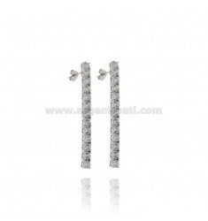 TENNIS EARRINGS MM 42X3 IN SILVER RHODIUM TIT 925 AND WHITE ZIRCONIA