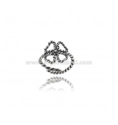 TWISTED WIRE FOUR-LEAF CLOVER RING IN BURNISHED SILVER TIT 925 ‰ ADJUSTABLE SIZE FROM 14