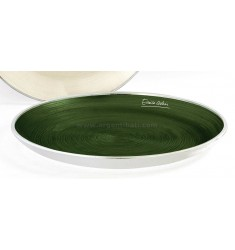 COPPA CIRCLE ENRICO COVERI VERDE DIAM. CM 40 IN CRISTALLO E ARGENTO 999