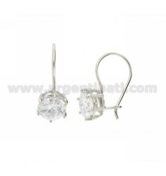 EARRINGS nun POINT LIGHT WITH ZIRCON IN 9 MM AG RHODIUM TIT 925 ‰