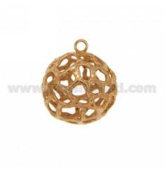 PENDIENTE DE BOLA A TRAVÉS 27 MM con Jersey 5 mm de rosa de oro bañado AG TIT 925