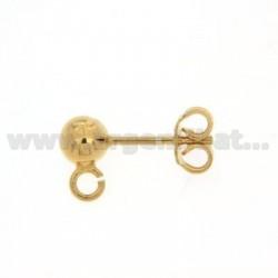 Ein Ball Ohrstecker mit 5 mm und ATTACK Trikot Silber vergoldet 925