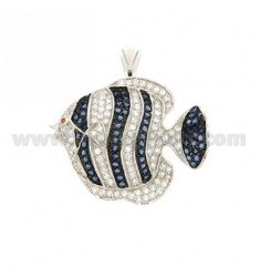 FISH PENDANT 30x36 MM IN AG TIT 925 ‰ AND ZIRCONIA