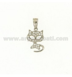 KITTY CHARM 17x11 MM IN AG TIT 925 ‰ AND ZIRCONIA