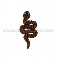 Pendiente de la serpiente TRAVÉS DE 33X16 MM AG PLATEADO rutenio TIT 925 ‰ y circonio