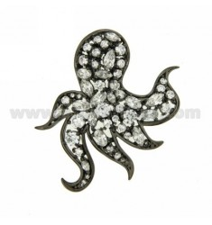 OCTOPUS PENDANT THROUGH 43x43 MM IN AG PLATED RUTENIO TIT 925 ‰ AND ZIRCONIA