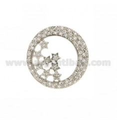 PENDANT ROUND WITH STARS THROUGH 27X27 MM IN AG TIT 925 ‰ AND ZIRCONIA