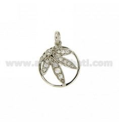 LEAF PENDANT marijuana IN CIRCLE 18 MM IN AG TIT 925 ‰ AND ZIRCONIA