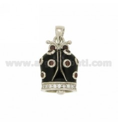 LADYBUG PENDANT BELL 22x15 MM GLAZED BLACK WITH DOTS AND BORDER WITH ZIRCONIA WHITE AND BORDEAUX IN RHODIUM AG TIT 925 ‰