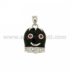 20X15 MM BELL CHARM CHICK WITH GLAZED BLACK BORDER AND EYES WITH ZIRCONIA WHITE AND BORDEAUX IN RHODIUM AG TIT 925 ‰
