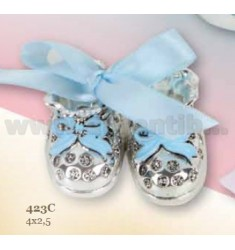 PAIR OF BABY SHOES W / BLUE BOW ARG.