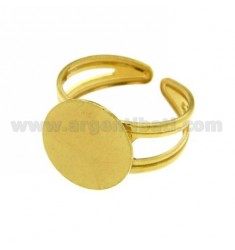 ADJUSTABLE RING WITH ROUND SURFACE SILVER GOLD PLATED 925 ‰